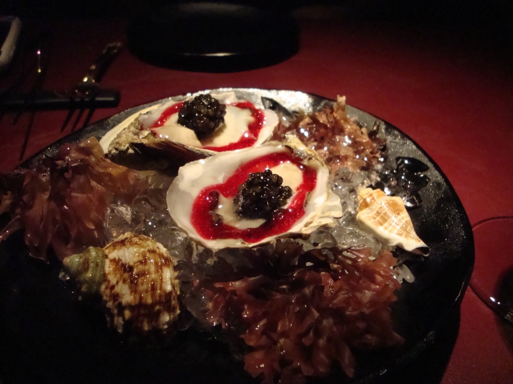 Oysters with Borsch and Caviar