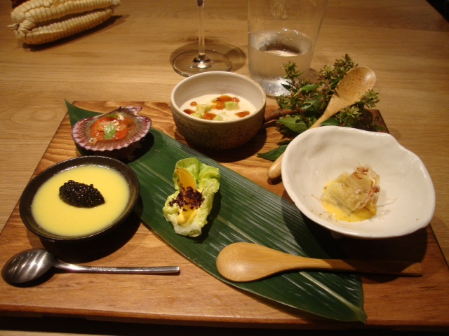Honzen Ryori with sweet corn cream with caviar on the left, as I had seen them prepare at Mistura