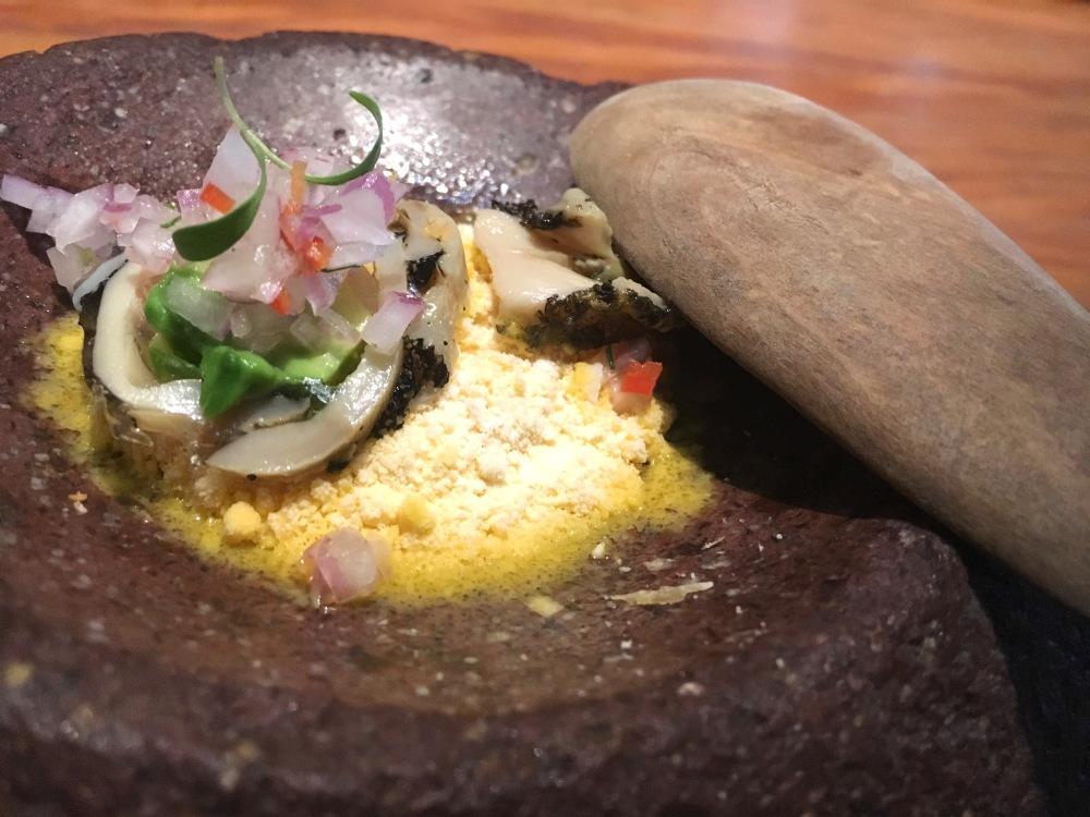 Lapas Cebiche: Chullpi corn, lapas, avocado, aji amarillo leche de tigre