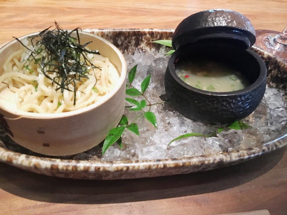 Cassava soba, tenkatsu, vongole dashi.